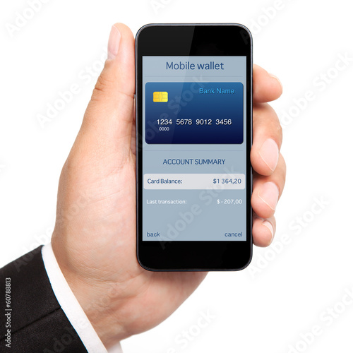 man hand holding the phone with mobile wallet onlain shopping on