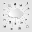 Abstract cloud computing with social networks icons on a gray ba