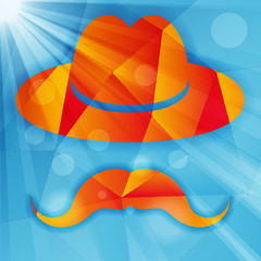 Hat with mustache on a blue abstract geometrical background