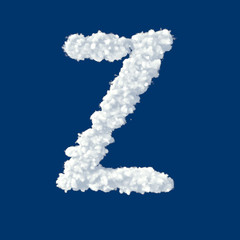 Clouds in shape of letter Z on a blue background