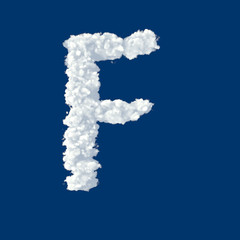 Clouds in shape of letter F on a blue background