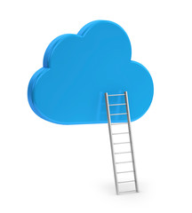 blue cloud and ladder, isolated on white background