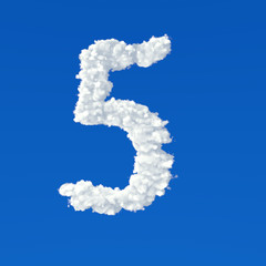 Clouds in shape of number five on a blue background