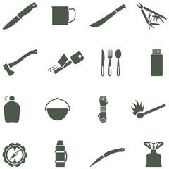 Set of vector icons with camping equipment and accessories.