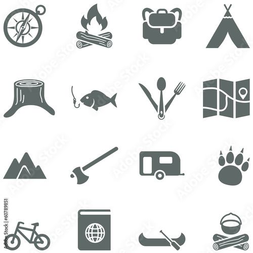Set of vector icons for tourism, travel and camping. - 60789851