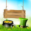 St Patrick's Day - background with wooden sign