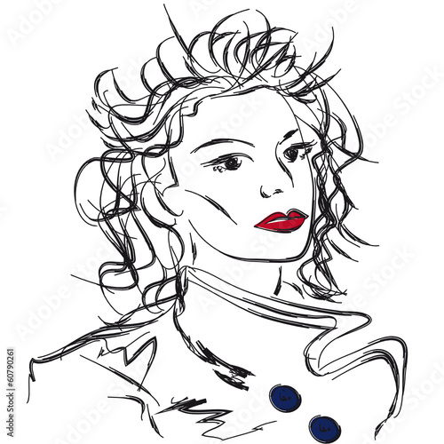 Sketch young woman in cloak © Oksana Budnichenko