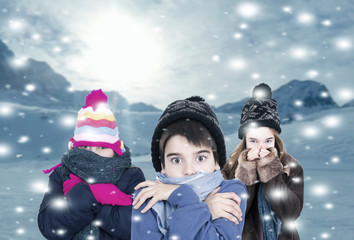 children in snow warm for cold winter