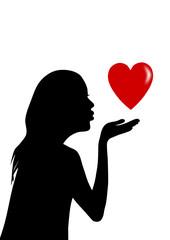 girl holding heart in hand. vector file