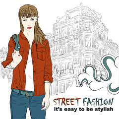 Pretty fashion girl in jacket on the street vector illustration