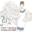 Stylish girl in dress on the street vector illustration
