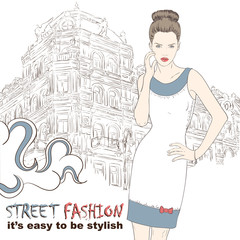 Stylish girl in dress on the street vector illustration