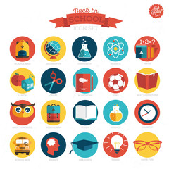 School icon set. Vector Illustration, eps10,