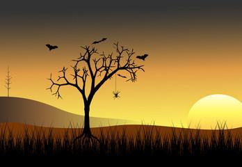 Spooky Dead Trees & Bat Sunset