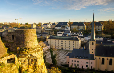 panorama view of Neumünster Abbey in Luxembourg City