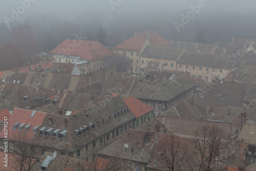 Novi Sad city roofs in fog