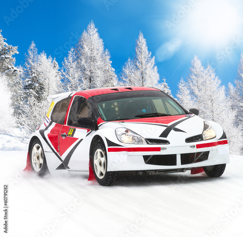 Foto op Plexiglas F1 rally on fresh snow