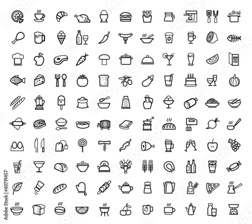 vector food icons set - 60791457