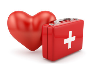 First aid kit with heart shape