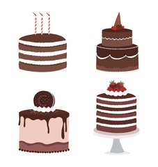 Set of Cake icons. Isolated on white