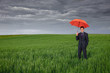 Business man with umbrella in green field