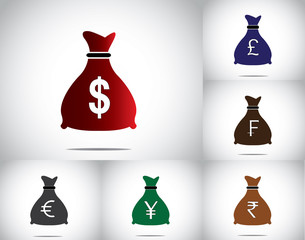 money bag set currencies dollar pound francs euro yen rupee