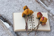 several dry yellow roses on the notebook