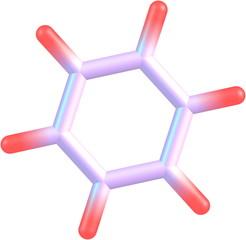 Benzene molecular structure on white background