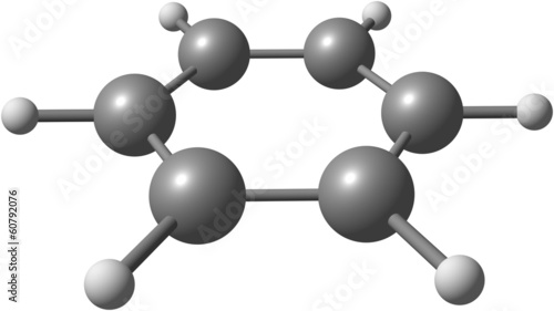 Benzene molecular structure on white background