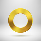 Abstract Circle Button with Gold Metal Texture