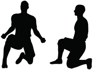 poses of soccer players silhouettes in rejoices position