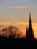 Church silhouetted