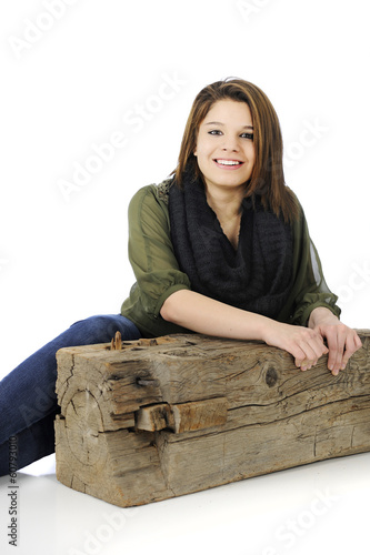 Delighted Teen by an Old Beam