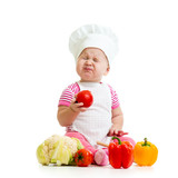 funny baby girl weared cook with vegetables