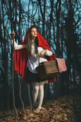 Little Red riding hood in the forest at night