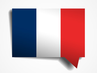 France flag paper 3d realistic speech bubble on white background