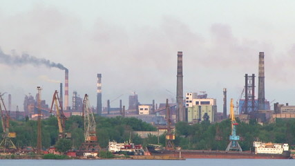 Steaming factories. Industrial view