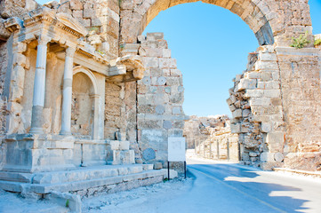 Ruins of Side in Turkey, arch of white stone