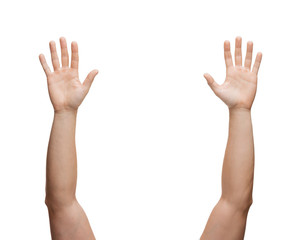 two man hands waving hands