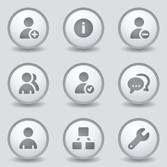 Users web icons, grey circle buttons