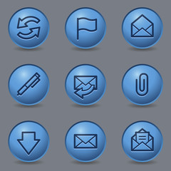 E-mail web icons, circle blue buttons