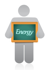 holding a energy sign illustration design
