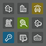 Real estate web icons, flat buttons