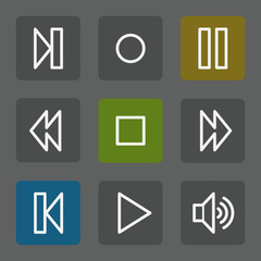 Media player web icons, flat buttons