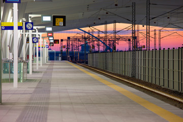 train stations at sunset