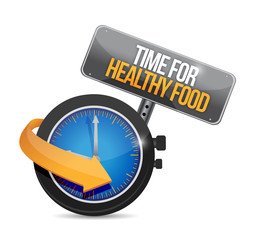 time for healthy food. watch illustration design