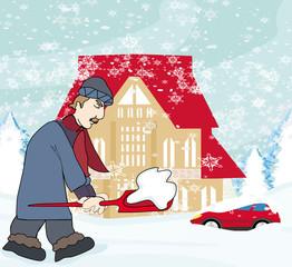 Man shoveling snow