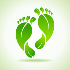 Illustration of foot made by green leaves