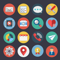 Flat Icons for Web and Applications Set4