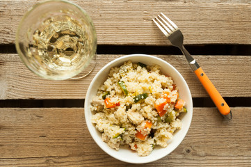 Couscous salad with chicken, zucchini and carrot
